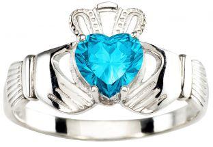 Ladies Aqumarine Silver Claddagh Ring - March Birthstone