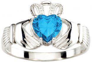 Ladies Blue Topaz Silver Claddagh Ring - December Birthstone