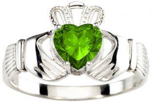 Ladies Peridot Silver Claddagh Ring - August Birthstone