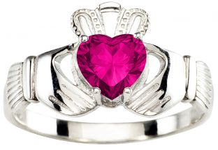 Ladies Pink Touramline Silver Claddagh Ring - October Birthstone