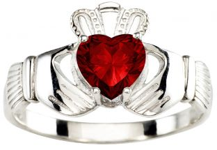 Ladies Ruby Silver Claddagh Ring - July Birthstone