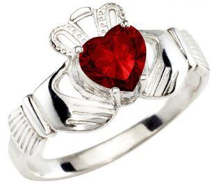 Ladies Ruby Silver Claddagh Ring - July Birthstone
