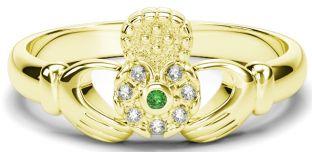 10K/14K/18K Gold Genuine Diamonds .035cts Genuine Emerald Claddagh Ring