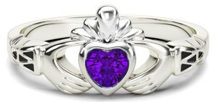 White Gold Alexandrite Claddagh Celtic Knot Ring - June Birthstone
