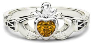 White Gold Citrine Claddagh Celtic Knot Ring - November Birthstone