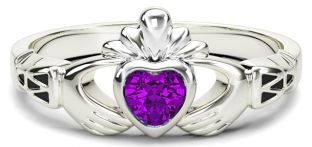 White Gold Amethyst Claddagh Celtic Knot Ring - February Birthstone