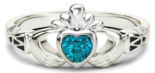 Ladies Aquamarine Silver Claddagh Celtic Knot Ring - March Birthstone