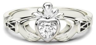 Ladies Diamond Silver Claddagh Celtic Knot Ring - April Birthstone