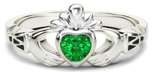 Ladies Emerald Silver Claddagh Celtic Knot Ring - May Birthstone