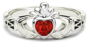 Ladies Ruby Silver Claddagh Celtic Knot Ring - July Birthstone