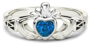 Ladies Sapphire Silver Claddagh Celtic Knot Ring - September Birthstone