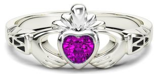White Gold Tourmaline Claddagh Celtic Knot Ring - October Birthstone