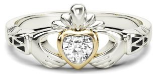 Ladies Diamond Solid Gold & Silver Claddagh Celtic Knot Ring - Arpril Birthstone