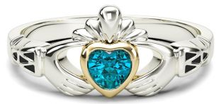 Ladies Aquamarine Silver Gold Claddagh Ring