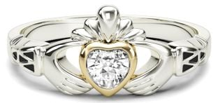 Ladies Diamond Gold Claddagh Ring