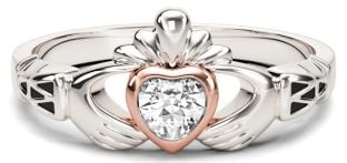 White & Rose Gold Diamond .25cts Claddagh Celtic Knot Ring - April Birthstone