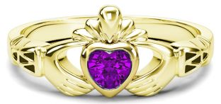 Gold Amethyst Claddagh Celtic Knot Ring - February Birthstone