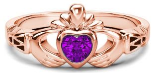Rose Gold Amethyst .25cts Claddagh Celtic Knot Ring - February Birthstone