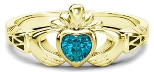 Gold Aquamarine Claddagh Celtic Knot Ring - March Birthstone