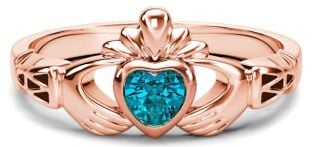 Rose Gold Aquamarine.25cts Claddagh Celtic Knot Ring - March Birthstone