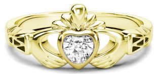 Ladies Diamond Gold Claddagh Ring