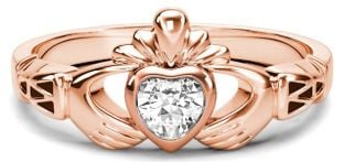 Rose Gold Diamond .25cts Claddagh Celtic Knot Ring - April Birthstone