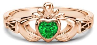 Rose Gold Genuine Emerald .25cts Claddagh Celtic Knot Ring - May Birthstone