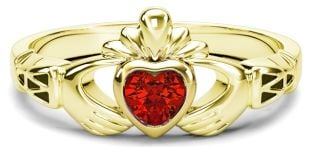 Ladies Ruby Gold Claddagh Ring