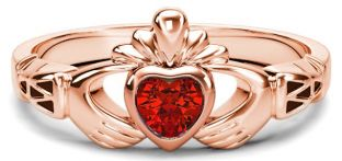 Rose Gold Genuine Ruby .25cts Claddagh Celtic Knot Ring - September Birthstone