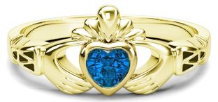 Ladies Blue Sapphire Gold Claddagh Ring