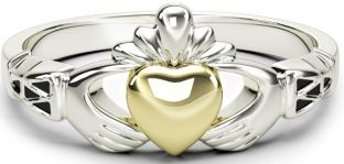 10K/14K/18K Claddagh two tone White & Yellow Gold Celtic Knot Ring