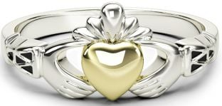 Ladies Silver & Solid Yellow Gold two tone Claddagh Celtic Knot Ring