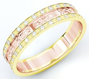 10K/14K/18K Two Tone Gold Yellow & Rose Genuine Diamond .5cts Claddagh Celtic Mens Wedding Band Ring