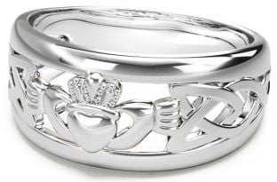 Silver Claddagh Celtic Knot Mens Ladies Unisex Ring