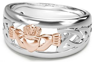 Silver & Rose Gold Claddagh Celtic Knot Mens Ladies Unisex Ring