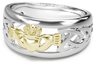 Silver & Gold Claddagh Celtic Knot Mens Ladies Unisex Ring