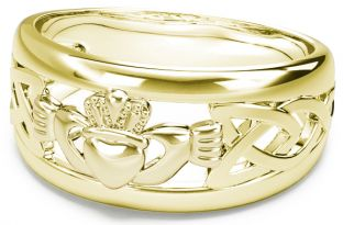Gold Silver Claddagh Celtic Knot Mens Ladies Unisex Ring