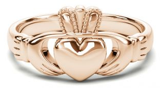 Classic Ladies 14K Rose Gold coated Silver Claddagh Ring