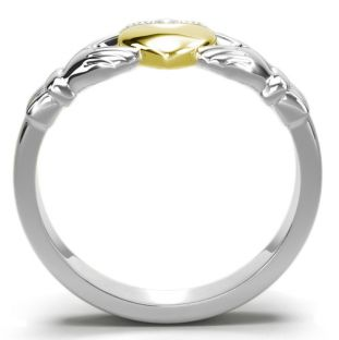 Classic Ladies Silver & Solid Yellow Gold Heart Claddagh Ring