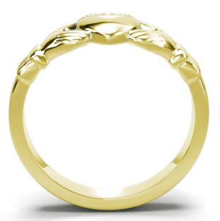 Classic Ladies 14K Gold coated Silver Claddagh Ring