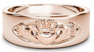 Rose Gold Claddagh Band Ring Unisex Mens Ladies