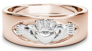 Rose & White Gold Claddagh Band Ring Unisex Mens Ladies