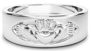 White Gold Claddagh Band Ring Unisex Mens Ladies
