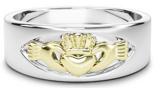 Silver & Gold Claddagh Band Ring Unisex Mens Ladies