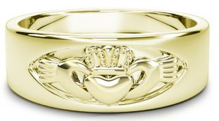 Gold Claddagh Band Ring Unisex Mens Ladies