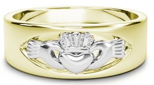 Yellow & White Gold Claddagh Band Ring Unisex Mens Ladies