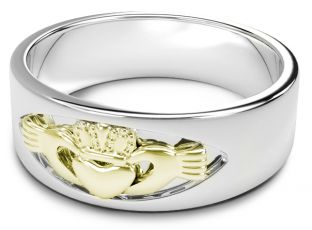 14K White & Yellow Gold coated Silver Claddagh Band Ring Unisex Mens Ladies