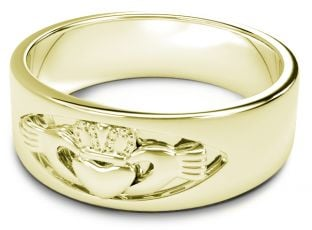 14K  Gold coated Silver Claddagh Band Ring Unisex Mens Ladies