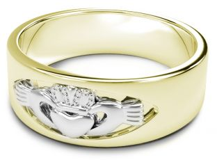 14K Yellow & White Gold coated Silver Claddagh Band Ring Unisex Mens Ladies