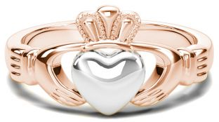 Classic Ladies Rose & White Gold Claddagh Ring